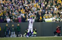 Brett Favre celebrates a touchdown pass