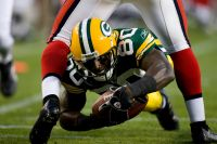 Donald Driver dives for the end zone